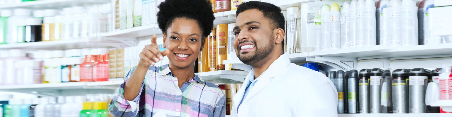 customer and a pharmacist